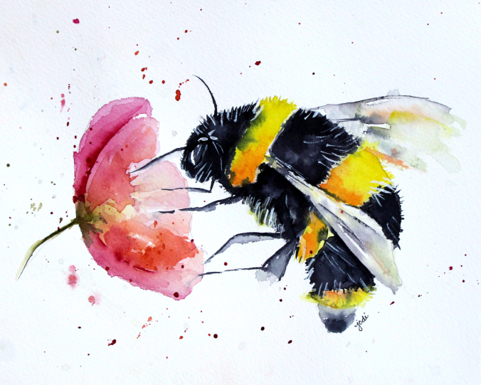 bumble-bee-buzz-watercolor-8x10-140lb-saunders-cold-press