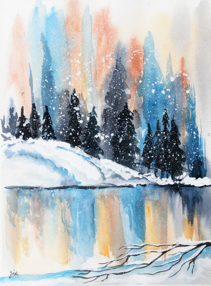 winter-landscape-snowy-reflections-11x14-400-lb-cold-press