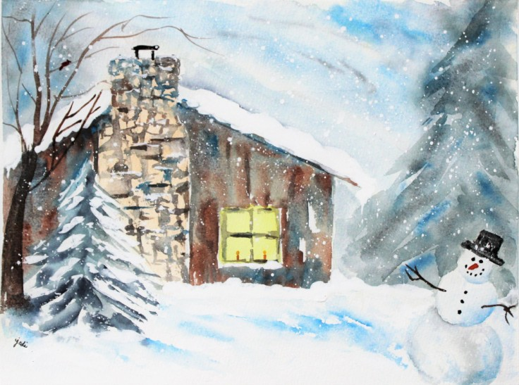 cozy-cabin-winter-wonderland-11x14-140-lb-cold-press